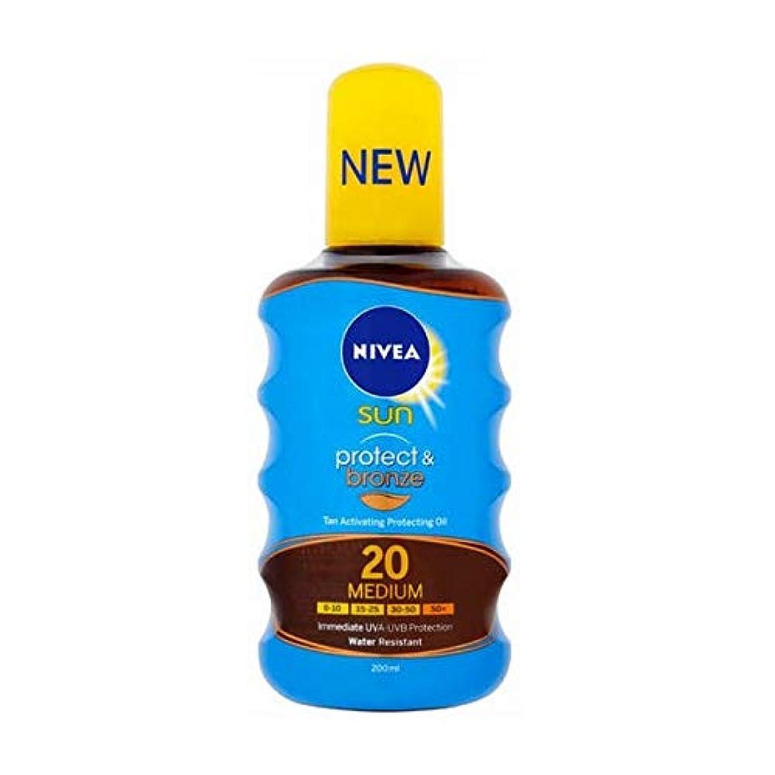 航空民兵中間[Nivea ] ニベア日焼けオイルSpf20プロテクト&ブロンズ200ミリリットル活性化 - NIVEA SUN Tan Activating Oil SPF20 Protect&Bronze 200ml [並行輸入品]