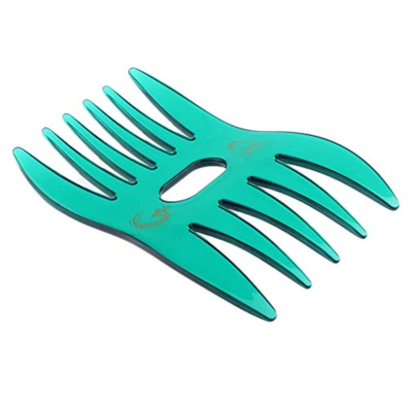 恐怖窒素排出ヘアコーム ヘアブラシ デュアルサイド櫛 ワイド 細かい歯 ヘアサロン 自宅用 4色選べ - 緑
