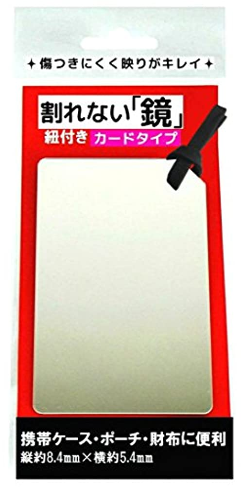 トリッキー送る見出し鏡 コンパクトミラー カード型 ミラー 割れない コンパクト 薄い 便利 携帯 紐付き (ブラック)