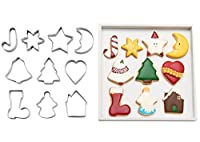 (Small) - ShengHai Christmas Cookie Cutter Set - 10 Piece Favourite Holiday Cookie Cutters, Include: Gingerbread Girl, Christmas Tree, Snowflake, Gingerbread House, Bell, Heart, Star, Christmas Crutch and More