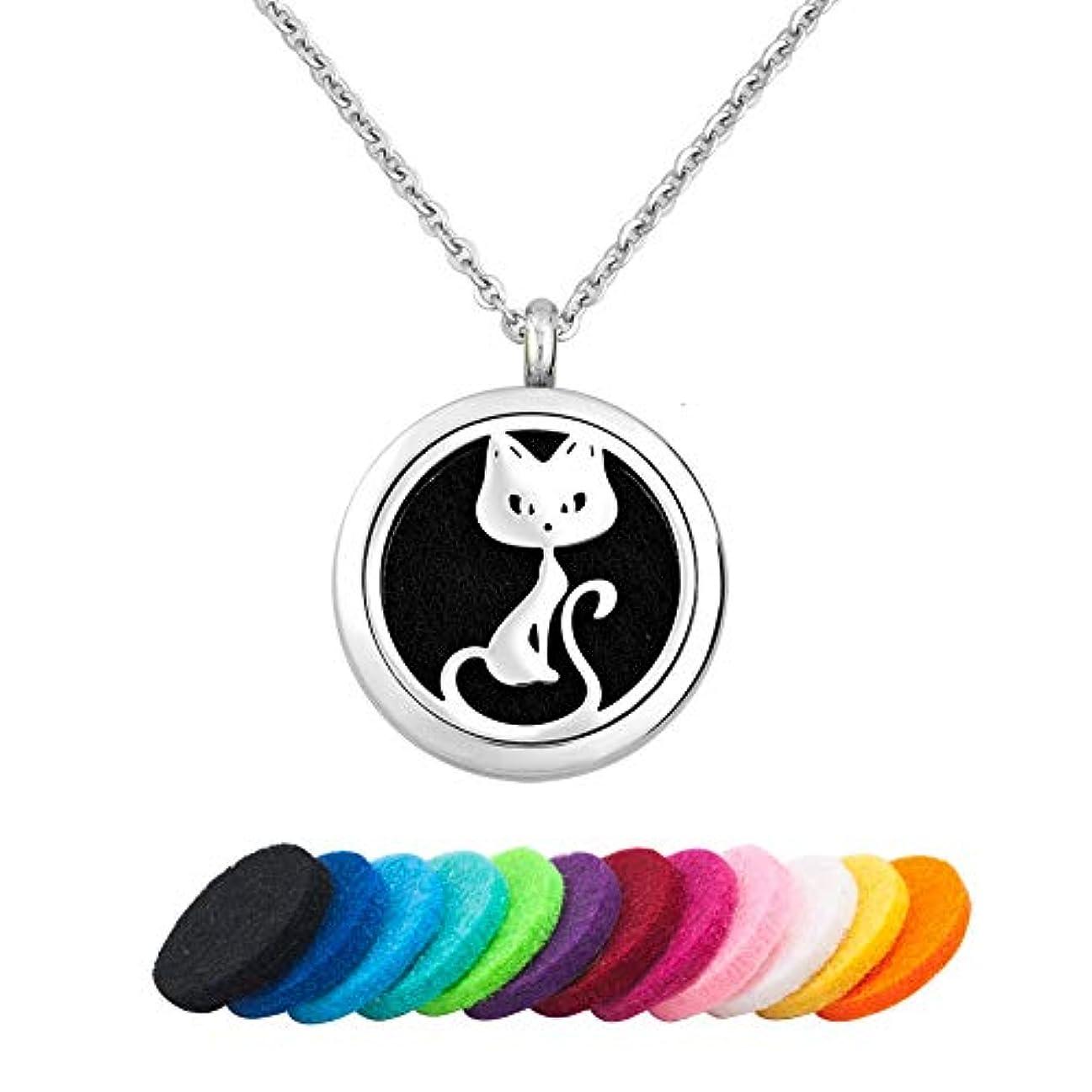 送料ポンプ責めInfinite Memories アロマセラピー 猫 エッセンシャルオイル ディフューザー ネックレス ステンレススチール ペンダントロケット
