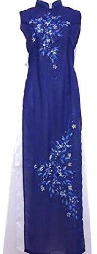 アオザイ ベトナム 民族 衣装 襟付き 袖なし レディース パンツ 付き (M, ブルー)