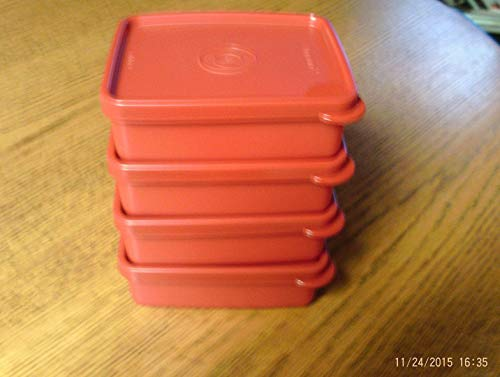 Tupperware Mini square-a-wayコンテナのセット( 4 )レッドwith Matching Seals