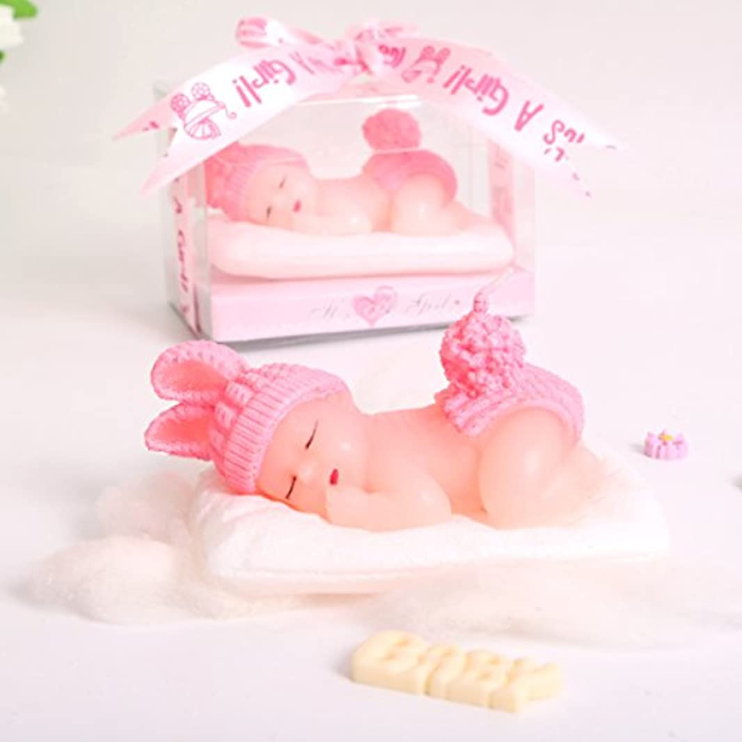 ラフにはまってカスタム(1 Pack, It's a Girl) - Adorable Mini Baby Birthday Candle Christening Baby Shower Favours Attached with Greeting Card (Pink) Cake Topper Party Decoration