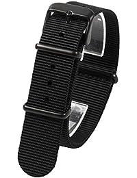 NATMK 時計ベルト NATO ブラックバックル ナイロン ストラップ 取付マニュアル付 (18mm, 艶消し尾錠ブラック)