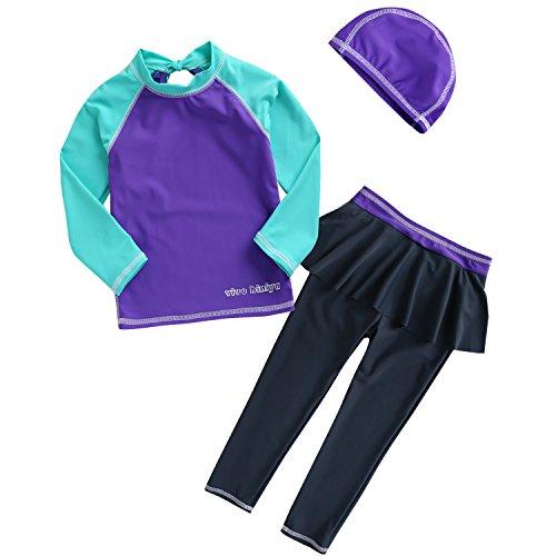 VIVO-BINIYA正規品子供水着女児水着3点セット帽子付き水着(スイムキャップ・長袖ラッシュガード・パンツ水着)UPF50+素材使用(11T(140),紫)