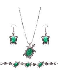 Lovoski 全2色選ぶ 復古 亀のデザイン ブレスレット ピアス ネックレス3点セット ジュエリーセット 宴会 二次会 パーティー プレゼント - 緑