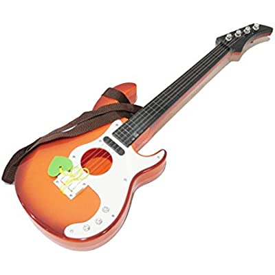 yemsy style 弾いている 感覚が楽しめる 子供用 本格 軽量 キッズ おもちゃ ギター 収納袋付(ブラウン)