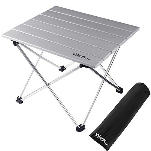 ロールテーブル Wolfyok アルミ製 折り畳みテーブル コンパクト キャンプ用 ケース付き アウトドア BBQ ビーチ ウルトラライト Sサイズ