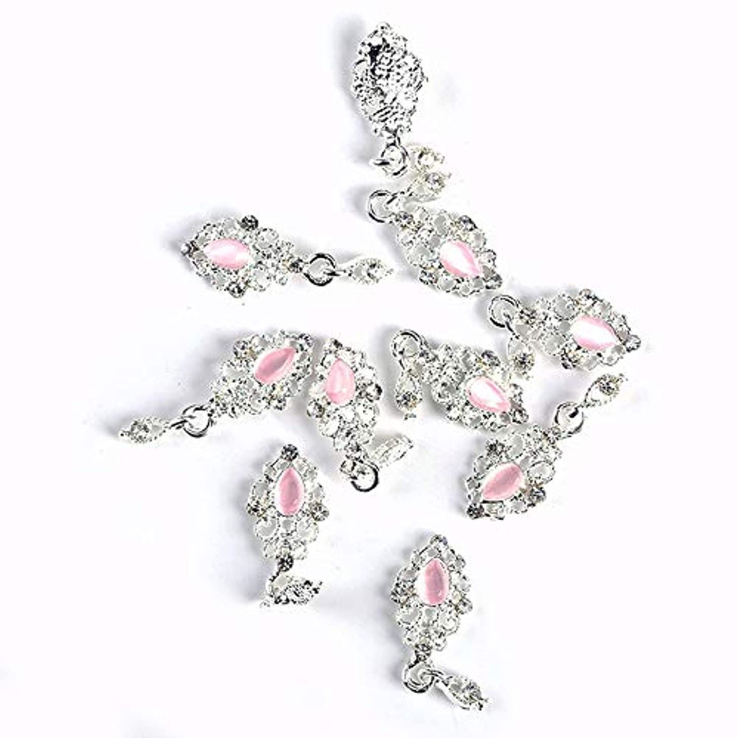 主張リース調停する10PCSの3D釘アクセサリーメタルシルバーネイルペンダントデザインモザイクピンクの宝石チャームは、アートの装飾DIYマニキュアネイル