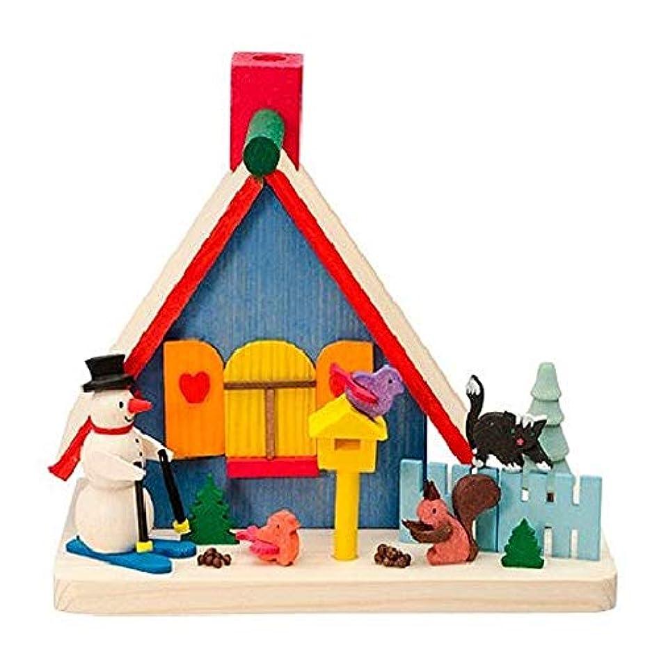 邪悪な土曜日ぬいぐるみPinnacle Peak Trading Company カラフルな雪だるまの家 木製 ドイツ製 クリスマスお香 スモーカー ドイツ製