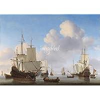 壁アート印刷entitledオランダmen-o ' -warとその他の出荷A Calm、at by天体イメージ 48