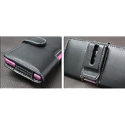 PDAIRレザーケース for Xperia (TM) A SO-04E ポーチタイプ(ブラック/レッドステッチ) PALCSO04EP/BL/RD