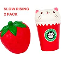 SquishyジャンボKawaii Strawberry andカプチーノCat Cup Slow Rising Squishesパックのセット2 Squishies Kid Toy Squeeze Kawaiiクリーム香りつきチャーム手手首Stress Relief Toys