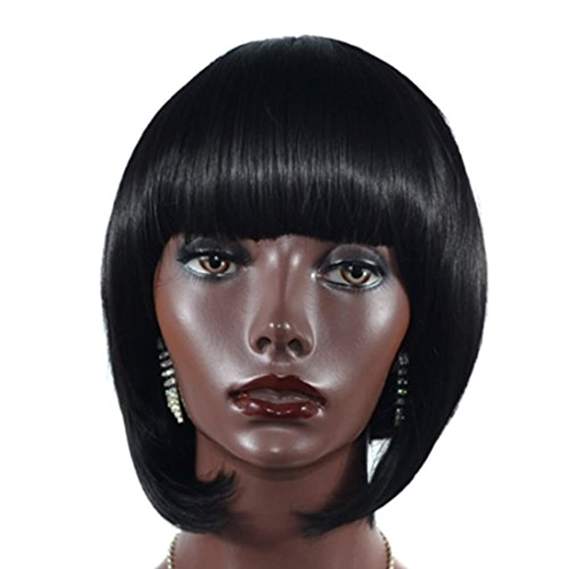 人事爆発する香りYOUQIU フラット前髪ウィッグウィッグとの自然なリアルなガールズウィッグ-25センチメートルボボショートストレートウィッグ黒髪 (色 : 黒)