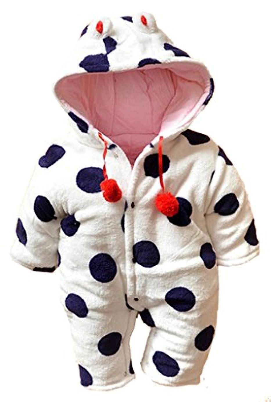 六月文房具ミニチュア(ラボーグ)La vogue 新生児 ベビー服 綿服 コスチューム 衣装 足つきとフード付 長袖 子供用 着ぐるみ 赤ちゃん もこもこ カバーオール 可愛い 68 パープル 足なし