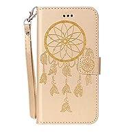 IPhone 8プラス&ホルダー&カードスロット&財布&ストラップ付き7プラスクレイジーホーステクスチャドリームキャッチャー印刷水平フリップレザーケースのために電話ケース(ピンク) styx2020 (色 : Gold)