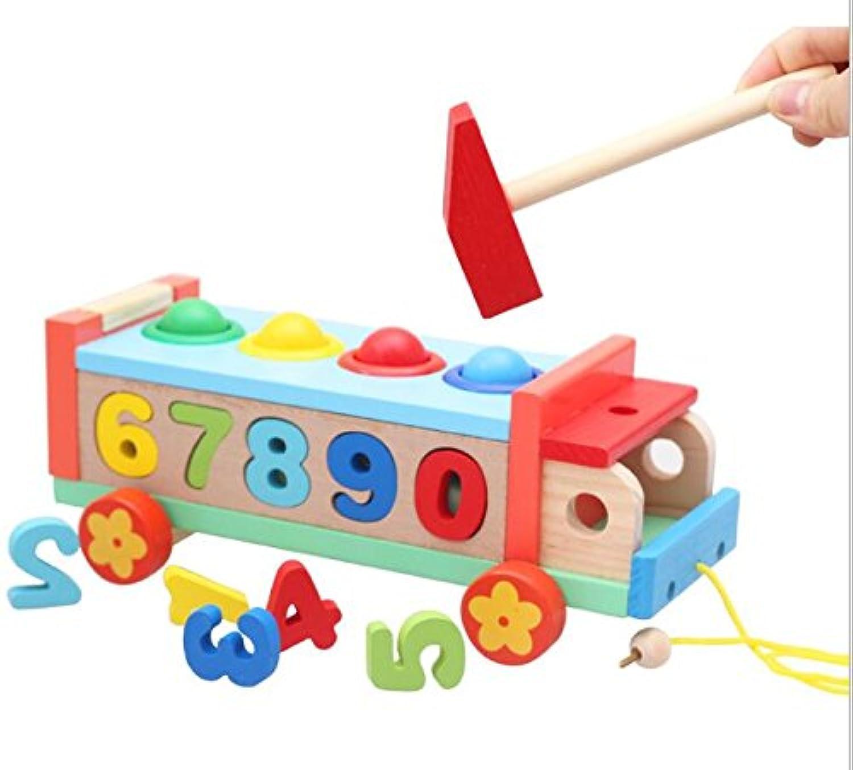 HuaQingPiJu-JP 子供のための数字とボールの教育ゲームと木製のおもちゃの車
