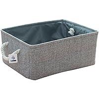 Iceblue HDポータブルグレー色wire-framedキャンバスストレージボックス布ボックス棚バスケットハンドル付き 12x8x5 グレー