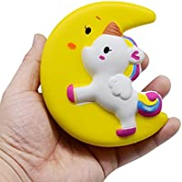 inkachキュートユニコーンSlow Rising Squishies Squeeze Toys for Kids Stress Relief Squishy香りつきおもちゃ S: 4cm イエロー HM-1