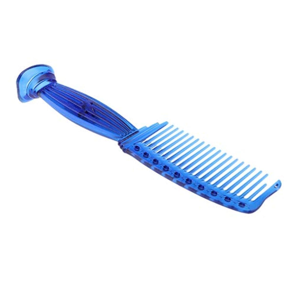低下ぼろラウンジ櫛 ワイド歯 スムースコーム プラスチック ヘアブラシ 5色選べ - 青