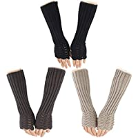 Cieovo 3 Pairs Winter Long Fingerless Gloves Knitted Arm Warmer Thumb Hole Gloves Mittens