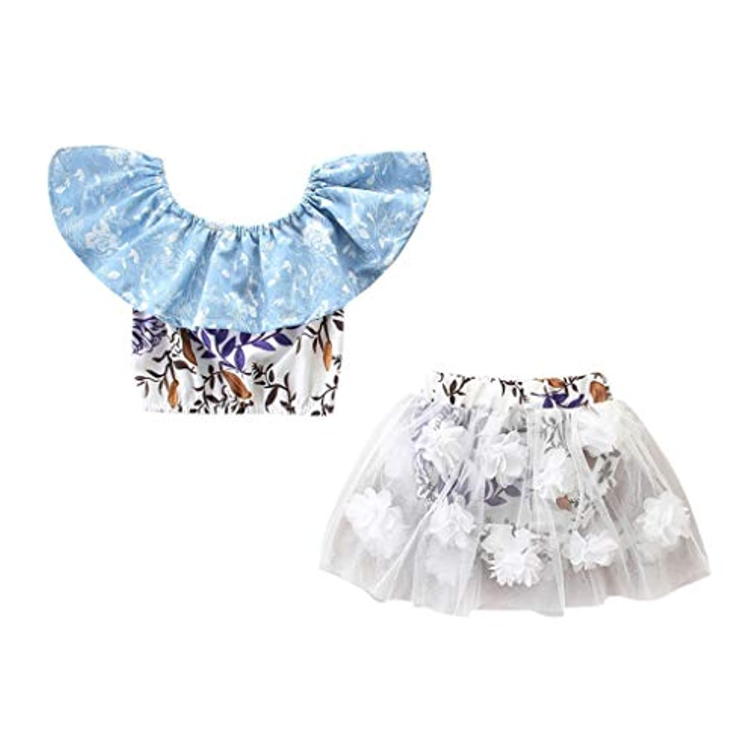 首尾一貫した有効化言い直すキッズ服 ドレスJopinica 6ヶ月~3歳 夏ボートネックプリントTシャツ? 3Dフラワーメッシュズボンツーピーススーツ 2点セットガールズ 特別なデザイン 花飾り ファッション女の子