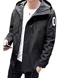maweisong メンズカジュアルジッパーフーディー軽量ジャケットロングスリーブアウトコート
