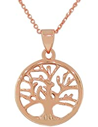 925 Sterling Silver Rose Gold-Tone Tree of Life Pendant Necklace with Chain