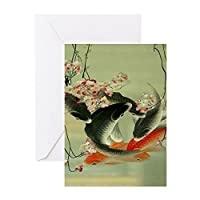 CafePress–Zen Japanese Koi Fishグリーティングカード–グリーティングカード( 10個パック)、注意カードで空白の内側、誕生日カード光沢