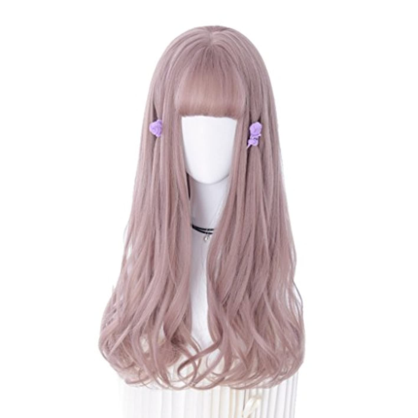 一目縫い目是正女性の長い波状のかつらピンクフルウィッグファッション甘いふわふわナチュラルロングウィッグ