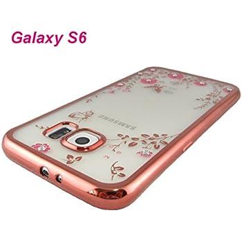 f833586d15 Galaxy S6 ケース / ラインストーン 付 Pink Gold カラー バンパー 風 TPU ケース / 耐衝撃 柔軟性 に優れた TPU  樹脂 ケース / 内面に密着防止用 ミクロ 凹凸 シボ ...