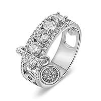 Weiy 結婚披露宴のための創造的なジルコンリングの光沢がある円形リング親指リングの積み重ね可能なリング、銀製、内径16.5mm