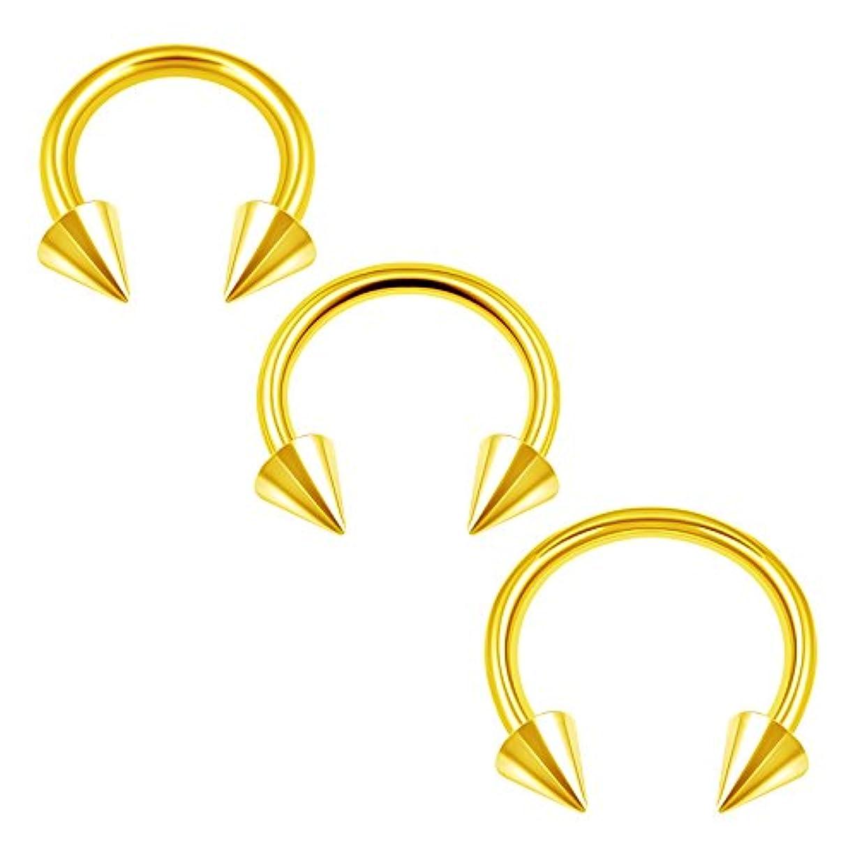 泳ぐ存在する伝統3pcsサージカルスチール陽極酸化円形リング14ゲージ8 mm 10 mm 12 mm 4 mmスパイクSpider BiteイヤリングLobeピアスジュエリー2998