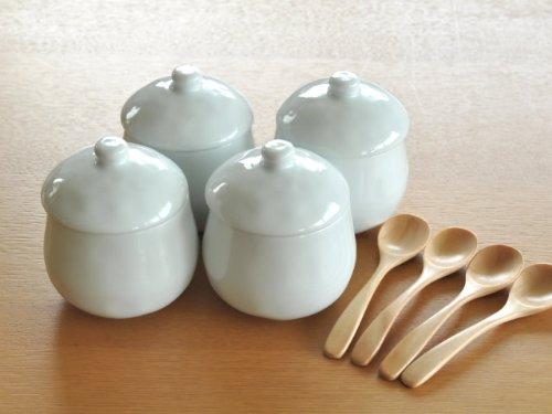【M'home style】白い食器 かわいい茶碗蒸し4個&木製スプーン4本セット