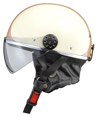 リード工業(LEAD) バイク用ハーフヘルメット O-ONE(オワン)  アイボリー/ブラウン フリー(57-60cm未満) O-ONE