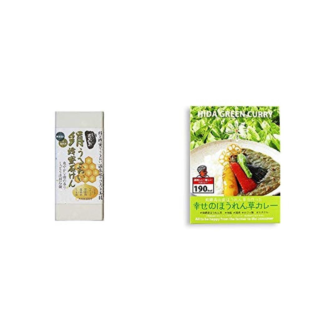 [2点セット] ひのき炭黒泉 絹うるおい蜂蜜石けん(75g×2)?飛騨産 幸せのほうれん草カレー(180g)