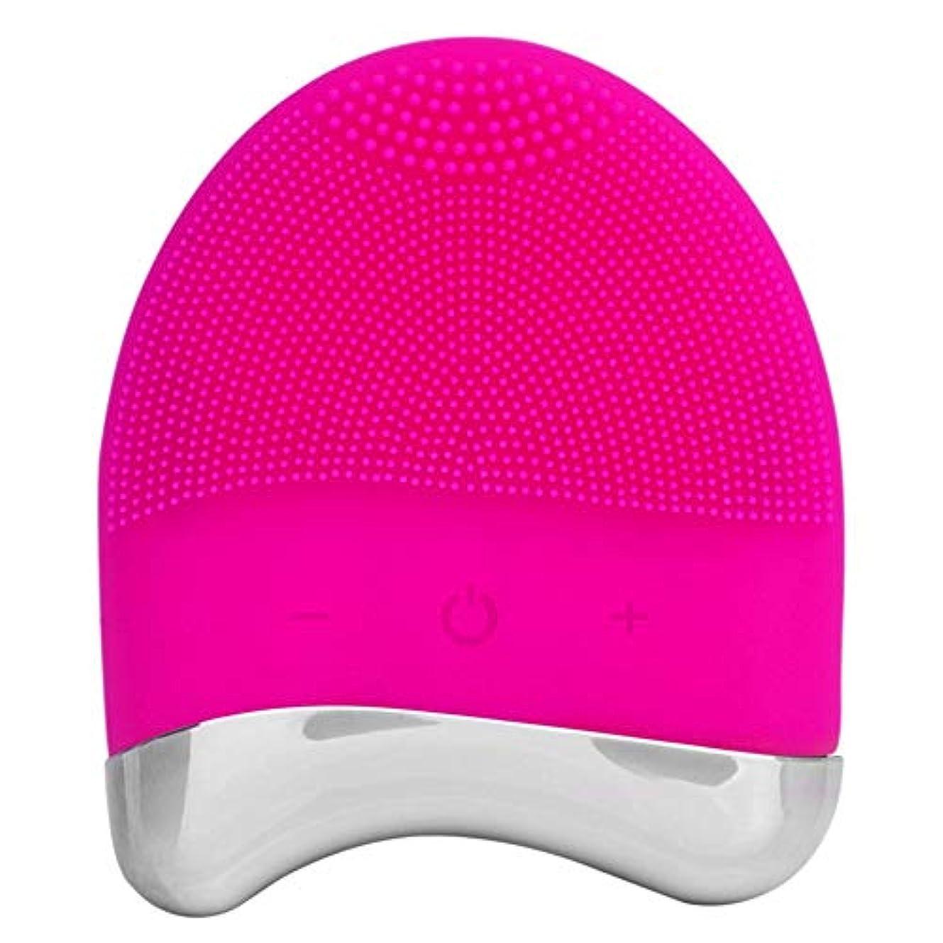 本質的にカートン統合する洗顔ブラシ 音波のシリコーンのスクラバー、すべての皮の反老化の顔の剥離のための表面の振動のマッサージャーの再充電可能で深いクリーニング ディープクレンジングスキンケア用 (色 : ローズレッド, サイズ : Free size)