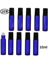 Flymylion ロールオンボトル アロマオイル 精油 小分け用 遮光瓶 10ml 10本セット ガラスロールタイプ (ブルー)