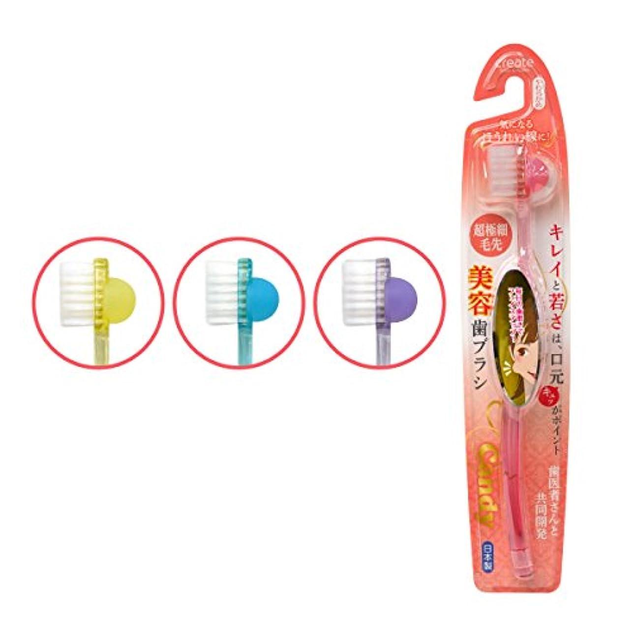 一杯サラダ半球candy(キャンディー)美容歯ブラシ やわらかめ 3本セット ※カラーランダム