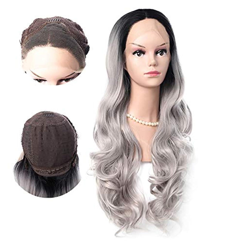 ええキャラバン野なWASAIO 女性の長い巻き毛のかつらは、黒髪の自然な波状のオンブルレースフロントかつらを植えた (色 : グレー)
