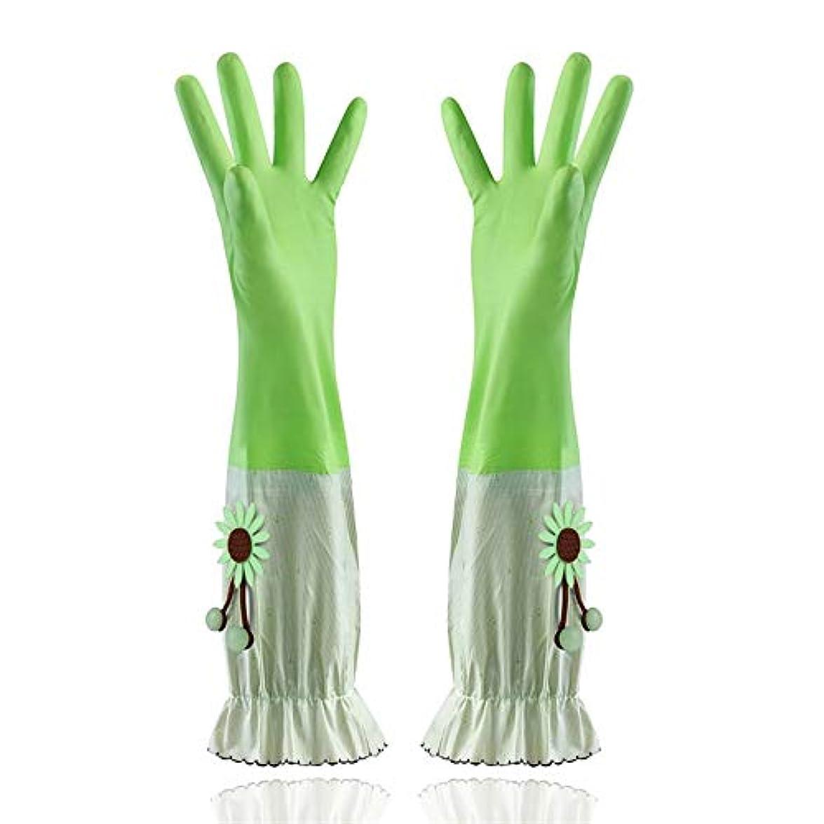 ラインアマチュアセレナニトリルゴム手袋 家庭用手袋防水性と耐久性のあるラテックス厚手PVC手袋 使い捨て手袋 (Color : Green, Size : L)