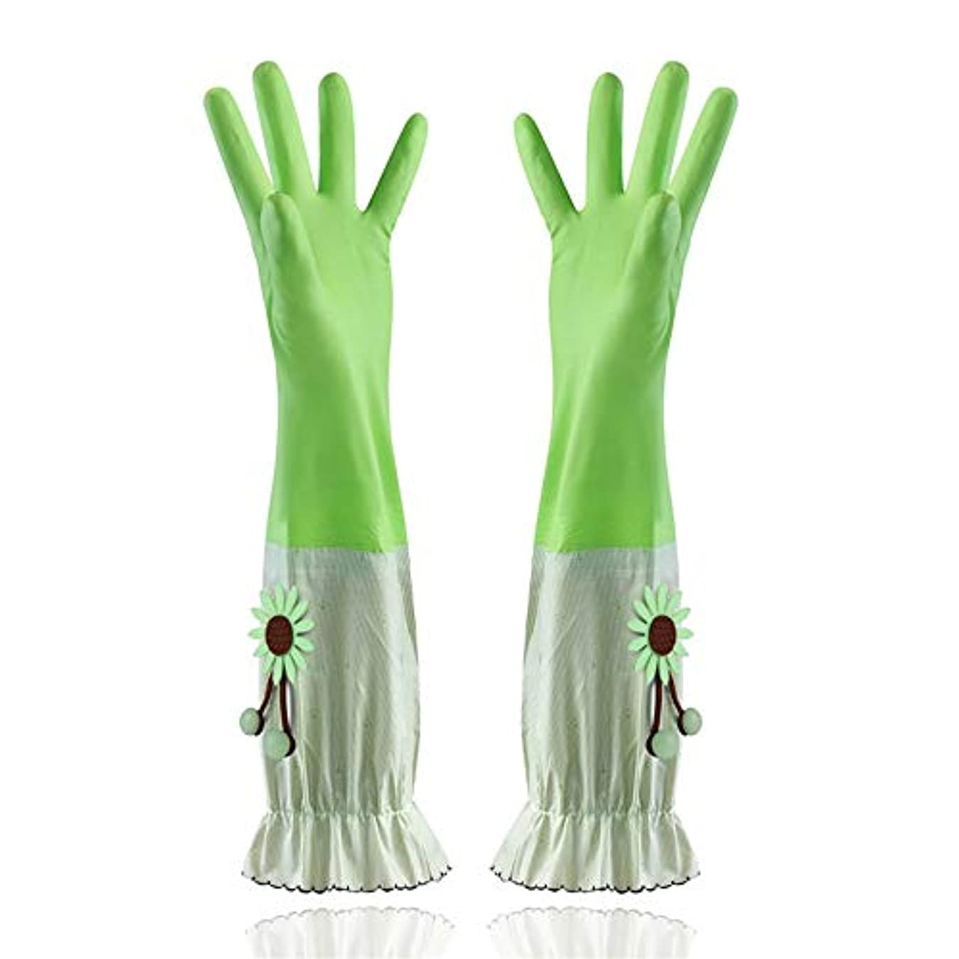 欠員後方威するニトリルゴム手袋 家庭用手袋防水性と耐久性のあるラテックス厚手PVC手袋 使い捨て手袋 (Color : Green, Size : L)