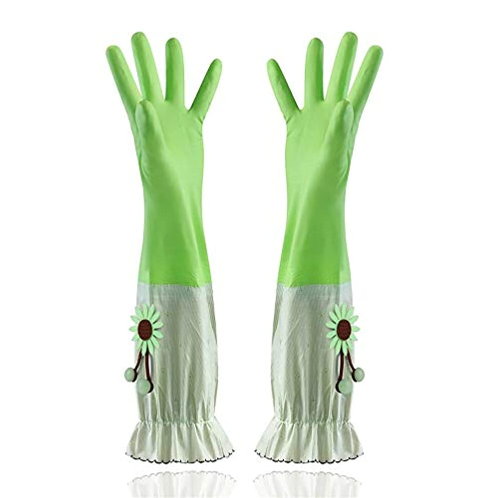 ラメ毒アクションニトリルゴム手袋 家庭用手袋防水性と耐久性のあるラテックス厚手PVC手袋 使い捨て手袋 (Color : Green, Size : L)