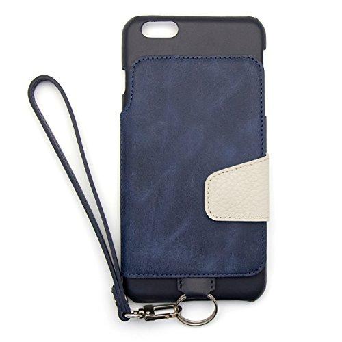 『RAKUNI (ラクニ) iPhone 6/6s Plus用 本革 背面ポケット 財布型 ストラップ付き レザーケース(スタンド機能)(iPhone 6/6s Plus用) (インディゴ)』のトップ画像