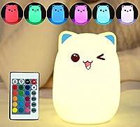 SHANGYAOタッチセンサーカラフルな猫 Led ナイトライトリモコン Rgb シリコン USB 充電式の寝室のベッドサイドランプの子供のタッチライト usb