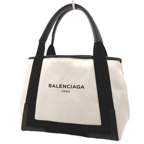 BALENCIAGA(バレンシアガ) ネイビーカバ S トートバッグ ハンド ショッピングバッグ キャンバス レザー アイボリー ブラック黒 シルバー金具 339933 レディース 40800025971【中古】【アラモード】
