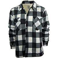 Oakwood Mountain Men's Fleece Shirt Jacket with Sherpa Lining | Button Up Front | Classic Plaid