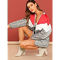 INFASHION Women's Multicolor Casual Zip Front Color Block Puffer Coat with Long Sleeve Co