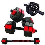 【バーベルにもなる】 ダンベル 5kg 10kg 20kg 2個セット アブローラー 腹筋ローラー 付き (5)